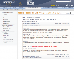 NHTDA Car Recall Report